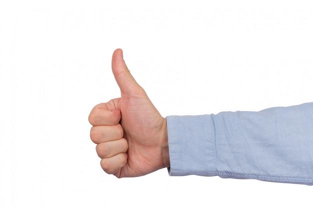 Come il simbolo della mano, gesto ben fatto. pollice in alto isolato su spazio bianco