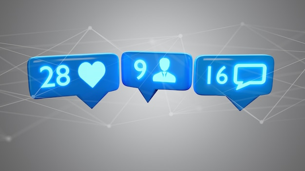 Come, seguace e messaggio di notifica sul social network, rendering 3d