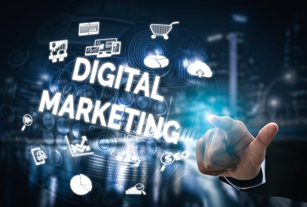 Commercializzazione della tecnologia digitale sfondo di affari