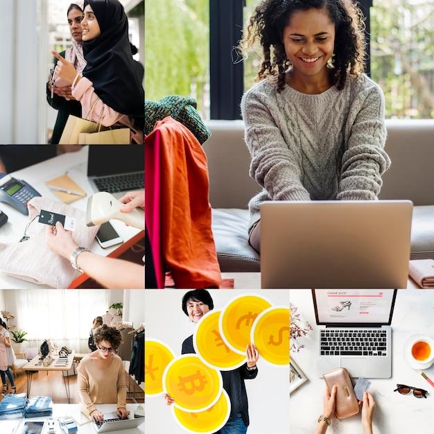 Compilazione di immagini per lo shopping online di moda