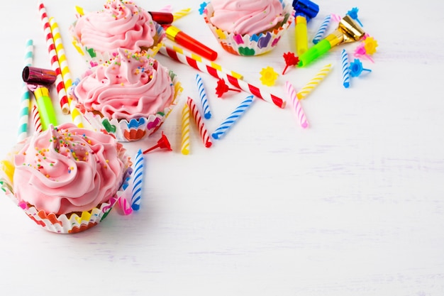 Compleanno con cupcakes rosa
