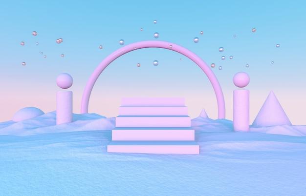 Composizione astratta 3d con le forme geometriche per l'esposizione del prodotto. sfondo scena di natale invernale.