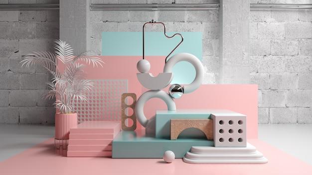 Composizione astratta in modo della fase della piattaforma con le forme geometriche di colore pastello, illustrazione 3d