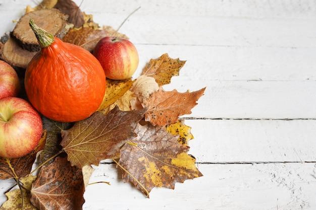 Composizione autunnale con copia spazio su legno bianco, zucca, mele e foglie