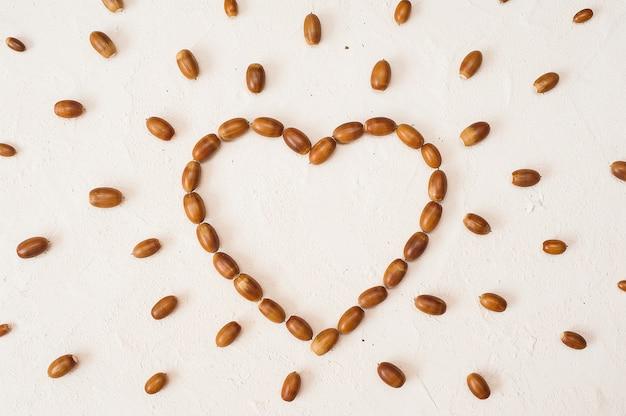 Composizione autunnale cornice fatta di ghianda a forma di cuore