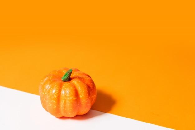 Composizione autunnale. zucca su sfondo arancione.