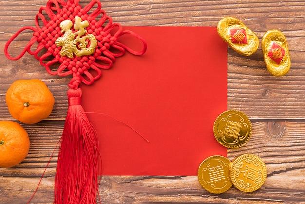 Composizione cinese del nuovo anno con copyspace
