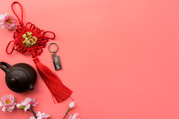 Composizione cinese del nuovo anno di vista superiore con copyspace