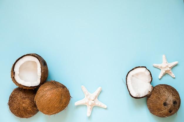 Composizione con noci di cocco mature e stelle marine sul blu