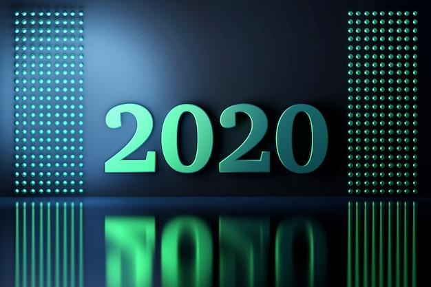 Composizione con numeri 2020 anno verde menta su blu scuro riflettente