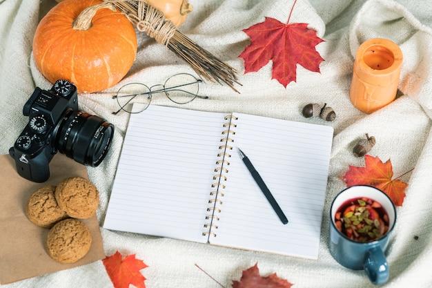 Composizione del raccolto autunnale, cibo e bevande, educativi e altri oggetti sul tovagliolo bianco