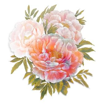 Composizione di bouquet di peonie rosse