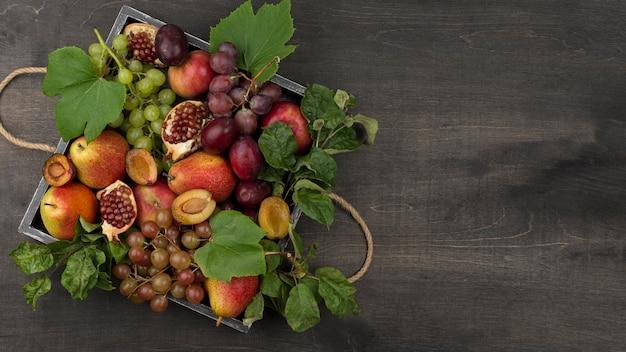 Composizione di frutti autunnali con copia spazio