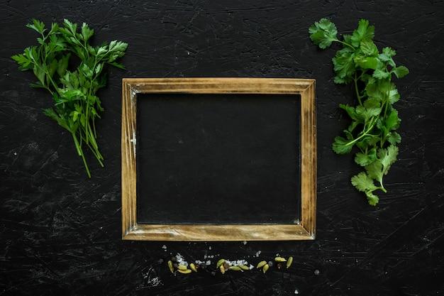 Composizione di ingredienti sani con cornice
