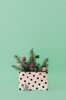 Composizione di natale con rami di un albero sempreverde