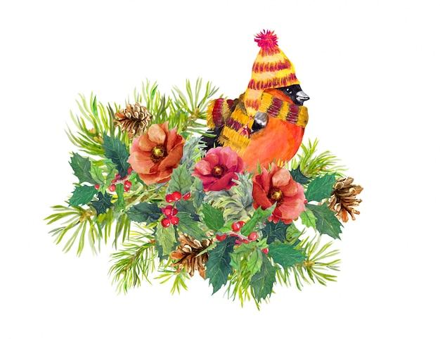 Composizione di natale - fringuello, fiori d'inverno, abete, vischio