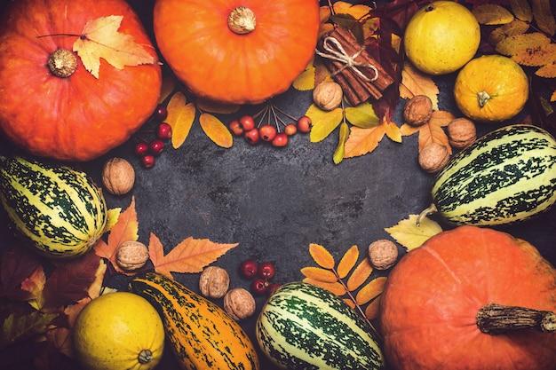 Composizione di ringraziamento della zucca del raccolto di autunno su un fondo nero