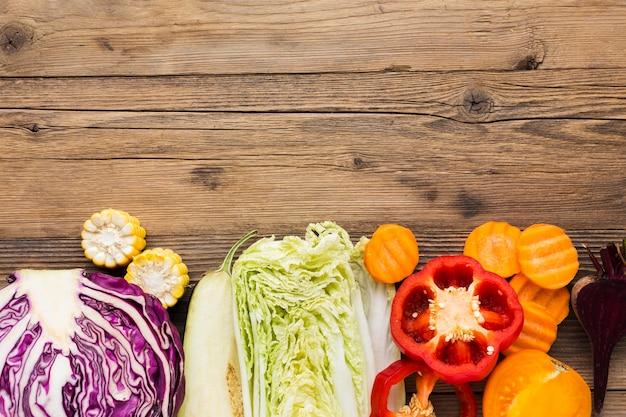 Composizione di verdure con copia spazio