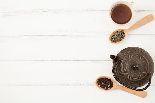 Composizione di vista superiore per il concetto di tè