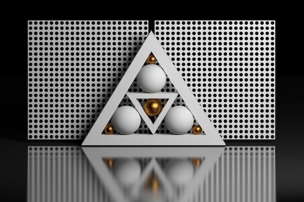 Composizione geometrica con sfere triangolari a griglia