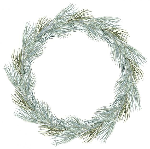 Composizione ghirlanda di buon natale cornice rotonda invernale