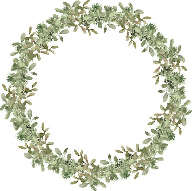 Composizione nella corona dell'albero di natale con rami di pino e abete rosso. cornice rotonda in abete invernale