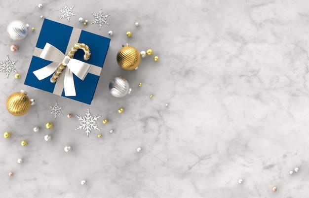 Composizione nella decorazione di natale 3d con i regali, palla di natale, fiocco di neve su fondo di pietra di marmo bianco. natale, inverno, anno nuovo. vista piana, vista dall'alto, copyspace.