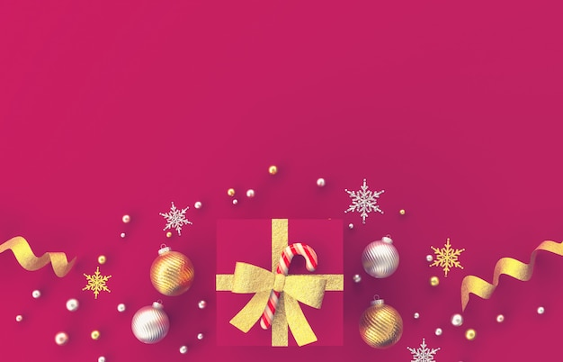 Composizione nella decorazione di natale 3d con i regali, palla di natale, fiocco di neve su fondo rosso. natale, inverno, anno nuovo. vista piana, vista dall'alto, copyspace.