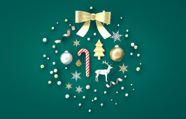 Composizione nella decorazione di natale 3d con il bastoncino di zucchero, palla di natale, fiocco di neve, renna su fondo verde. natale, inverno, anno nuovo. vista piana, vista dall'alto, copyspace.