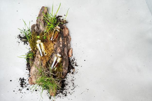 Composizione piatta distesa con tre bottiglie di vetro di cosmetici biologici per la cura del corpo con olio di frangipani, legno di sandalo, patchouli