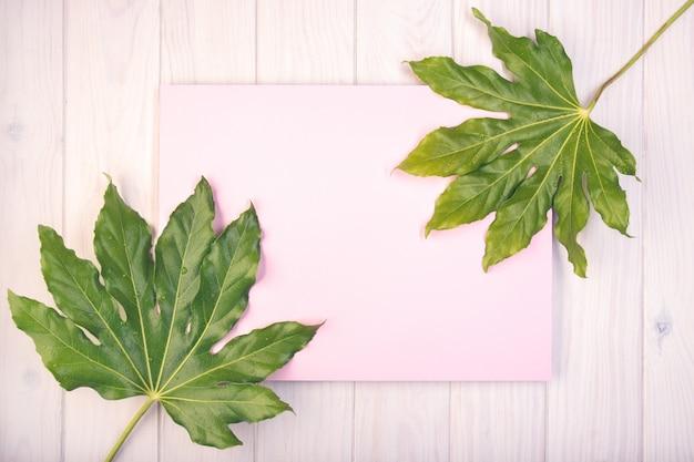 Composizione piatta laica con bordo rosa e foglie verdi sul tavolo di legno bianco