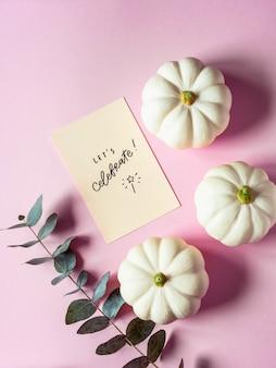 Composizione piatta laica di zucche bianche, rami di eucalipto e desideri motivazionali su sfondo rosa