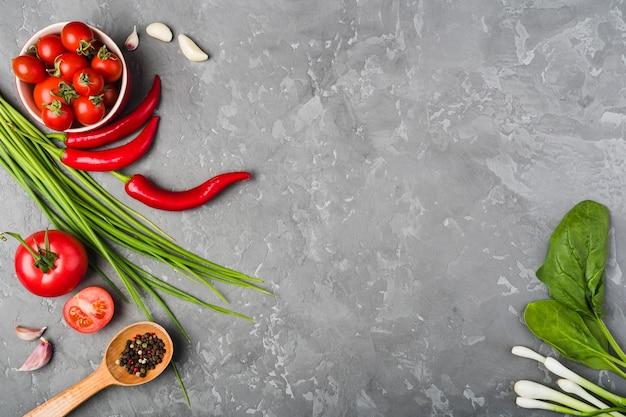 Composizione piatta laici di verdure con copyspace