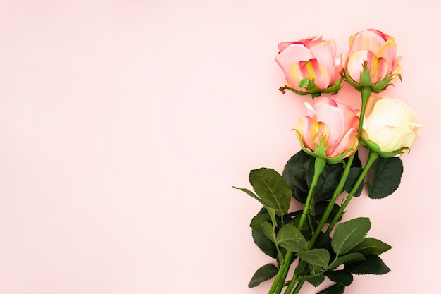 Composizione romantica fatta con rose su uno sfondo rosa