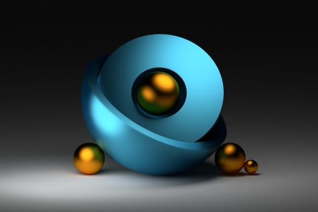 Composizione zen con sfere blu dorate