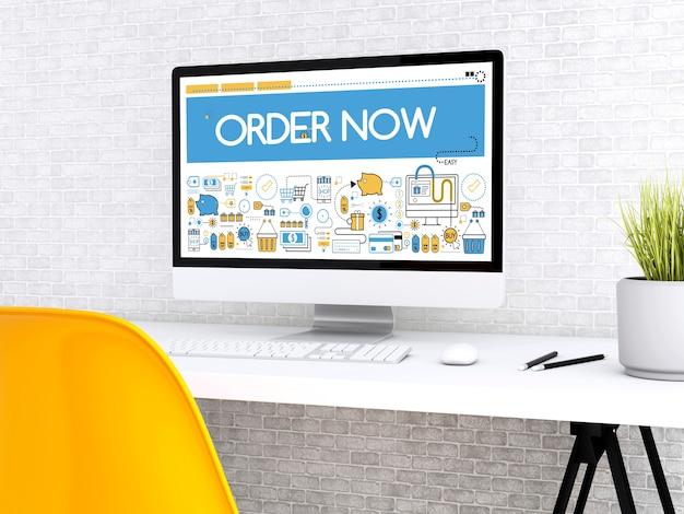 Computer 3d con la parola ordina ora.