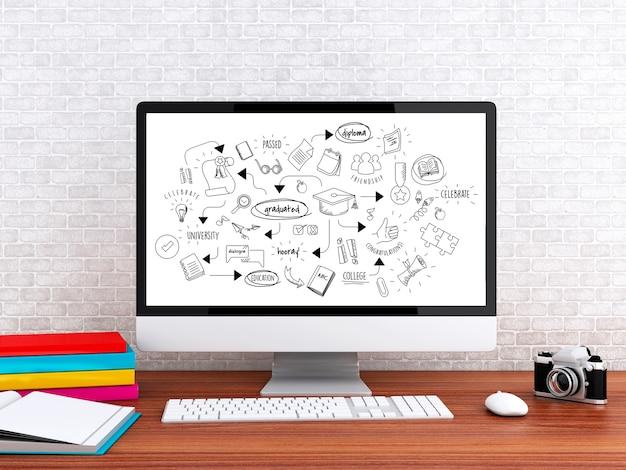 Computer 3d con schizzo di educazione