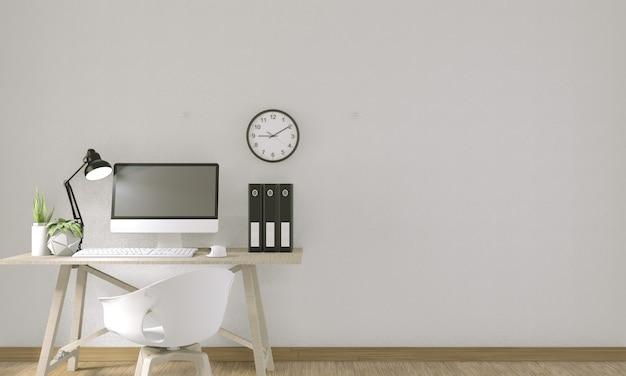 Computer con lo schermo in bianco e la decorazione nella stanza dell'ufficio. rendering 3d