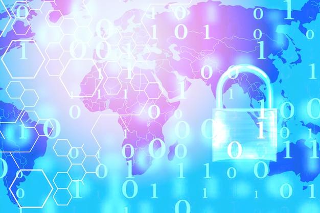 Computer di sistemi di sicurezza dei dati con lucchetto bloccato su numero digitale e mappa del mondo