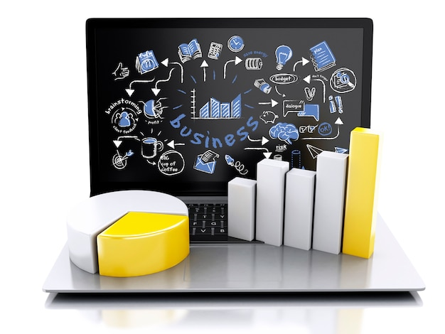 Computer portatile 3d con i grafici ed il grafico. concetto di successo aziendale. isolato su sfondo bianco