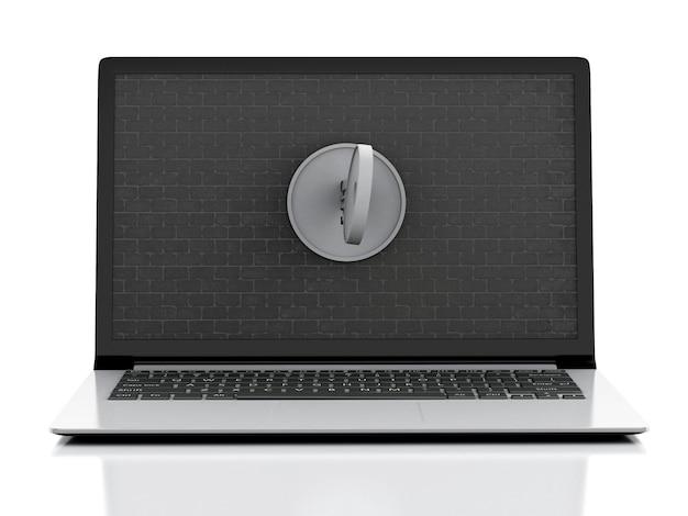 Computer portatile 3d con il muro di mattoni e la chiave.
