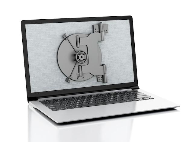Computer portatile 3d con il muro di mattoni e la porta sicura.