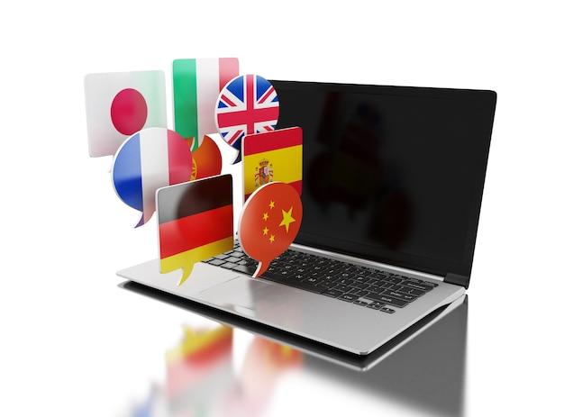 Computer portatile 3d con le bandierine di discorso della bolla.