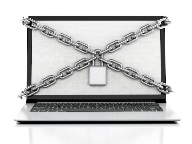 Computer portatile 3d con muro di mattoni, serratura e catena.