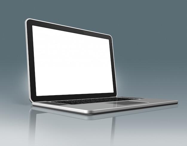 Computer portatile ad alta tecnologia su grigio