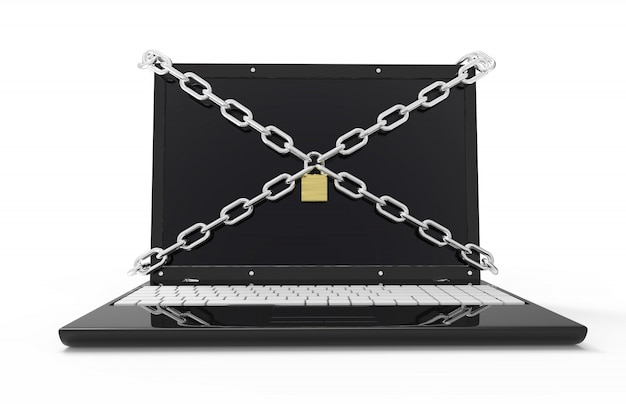 Computer portatile con catene e lucchetto