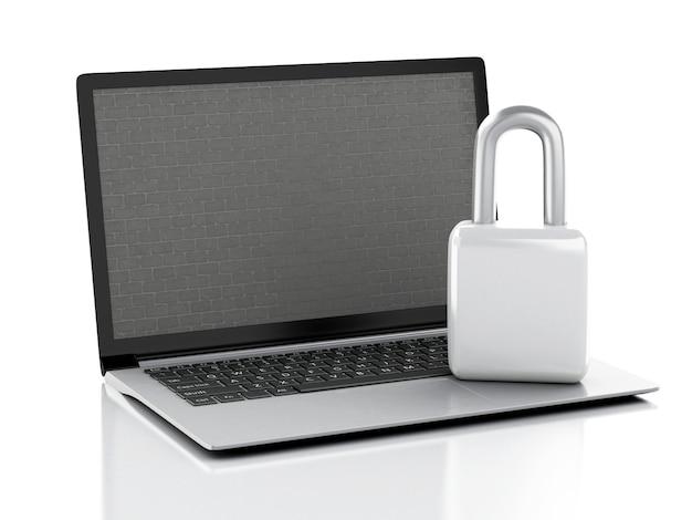 Computer portatile con muro di mattoni e serratura.