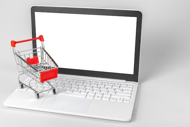 Computer portatile e cestino isolati su bianco
