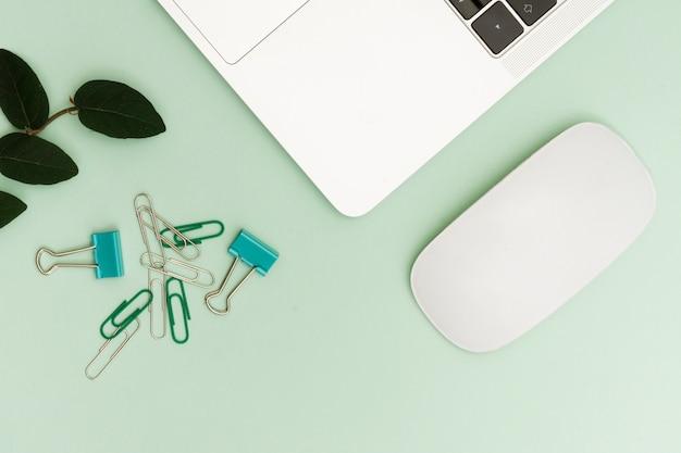 Computer portatile e clip con pianta sulla scrivania nell'area di lavoro