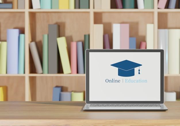 Computer portatile e libri sulla tavola di legno, rappresentazione online di concetto 3d della scuola